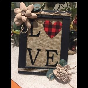 LOVE Red and Black Plaid Check Heart Black Frame